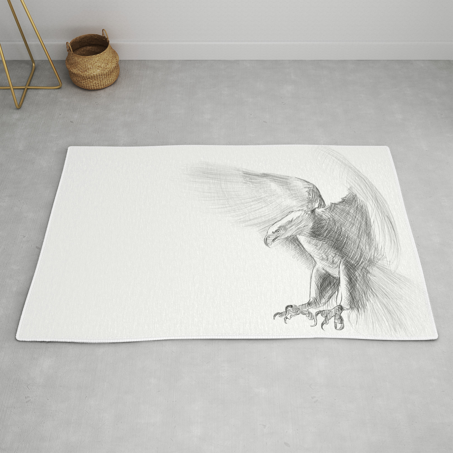 Eagle pencil drawing rug by kolonjart