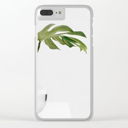 Single Monstera Leaf In Clear Glass Zen Minimalist House Plant Photo Clear iPhone Case