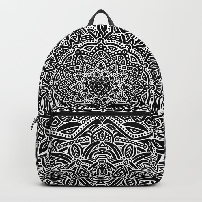 7a5db339c1 Most Detailed Mandala! Black and White Color Intricate Detail Ethnic  Mandalas Zentangle Maze Pattern Backpack