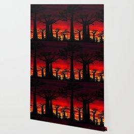 Madagascar Baobab Tree Sunset Landscape Painting Wallpaper