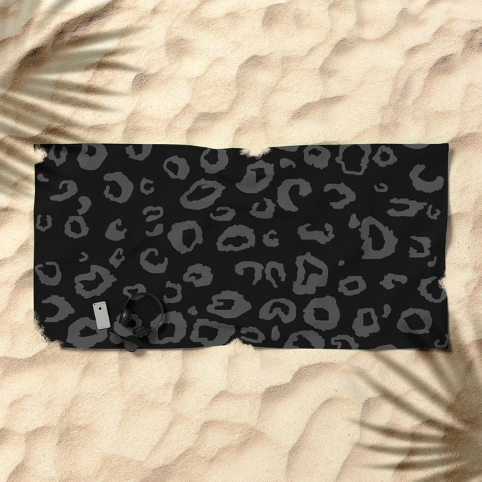 Black and Gray Leopard Beach Towel