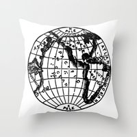 globe Throw Pillows featuring Globe by Gallymogger Print