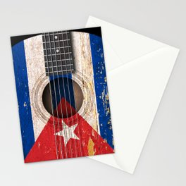 Old Vintage Acoustic Guitar with Cuban Flag Stationery Cards