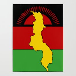 Malawi Map on a Malawian Flag Poster