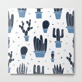 Cactus Plants Pattern- Blue Metal Print