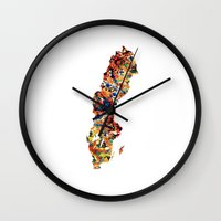 sweden Wall Clocks featuring Sweden by In Full Color