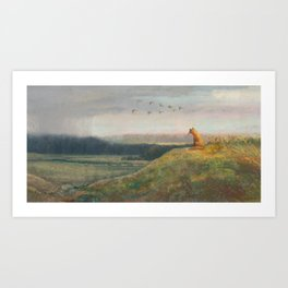 Red Fox Looks Out Over the Valley Art Print