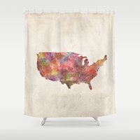 usa Shower Curtains featuring USA map by MapMapMaps.Watercolors