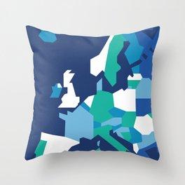 Geometric Europe Map - Blue Throw Pillow