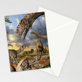 Jurassic dinosaurs being born Stationery Cards