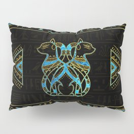 Egyptian Cats Gold and blue stained glass Pillow Sham