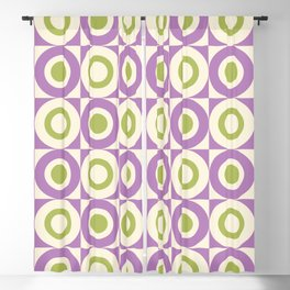 Mid Century Square and Circle Pattern 541 Lavender and Chartreuse Blackout Curtain