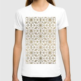 Modern gold stars geometric pattern Christmas white marble T-shirt