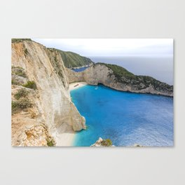 Navagio Beach with Shipwreckon Zakynthos Island, Greece Canvas Print