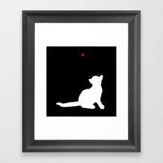 Cat and Laser Cute Minimalistic Animal Portrait Framed Art Print