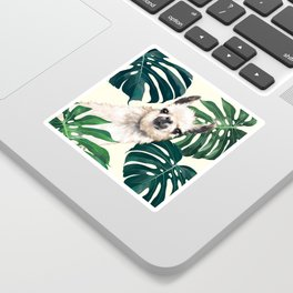 Sneaky Llama with Monstera Sticker