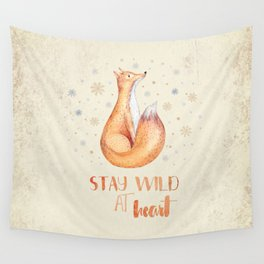 Stay Wild at Heart-Winter Fox Illustration Wall Tapestry