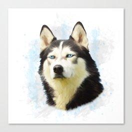 Siberian Husky Dog Water Color Art Painting Canvas Print