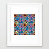 70s Framed Art Prints featuring 70s floral by Lara Gurney