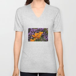 Poppies And Purple Lantana Unisex V-Neck