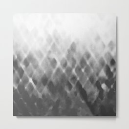 Diamond Fade in Grey Metal Print