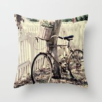 bike Throw Pillows featuring bike  by Beverly LeFevre