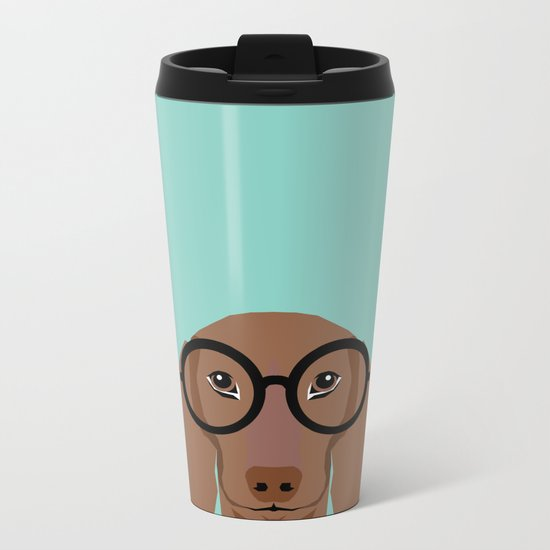 Remy - Daschund with Fashion glasses, hipster glasses, hipster dog, doxie,  Metal Travel Mug