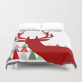 Deer Head Geometric Triangles | white red green Duvet Cover