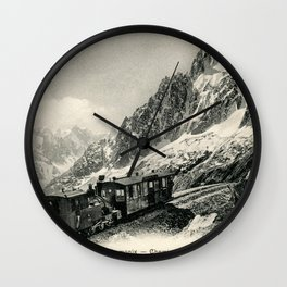 Antique train rack railway near Mont Blanc French Alps Wall Clock