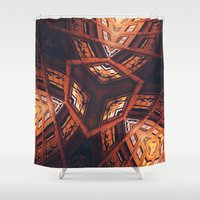 labyrinth Shower Curtains featuring Industrial Labyrinth by Phil Perkins