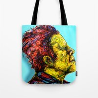 tom waits Tote Bags featuring Tom Waits by Alec Goss
