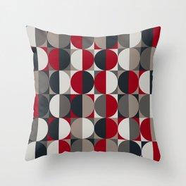 semi circles_red black white gray Throw Pillow
