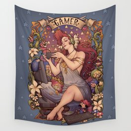Gamer girl Nouveau Wall Tapestry