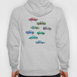 Little Toy Cars in Watercolor on White Hoody