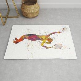 Woman plays tennis in watercolor 07 Rug