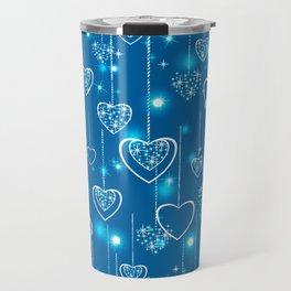 Bright openwork hearts on a light blue background. Travel Mug