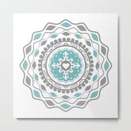 Heart Mandala – Blue Metal Print