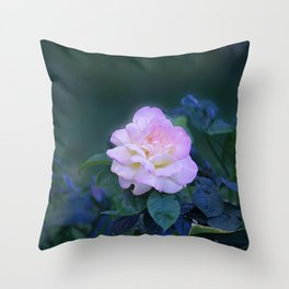 One Pink Rose on a Rosebush Throw Pillow