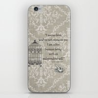 jane eyre iPhone & iPod Skins featuring Jane Eyre: I am no bird by AfterThisChapter