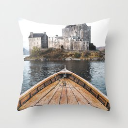 The Boat and the Castle-Scotland Throw Pillow