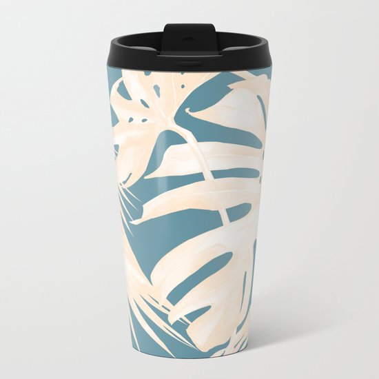 Palm Leaves Citrus on Deep Ocean Blue Metal Travel Mug