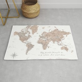 Where I've never been detailed world map in taupe Rug