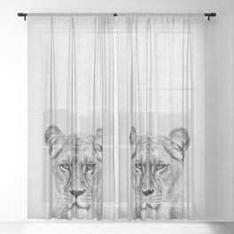 Lioness - Black & White Sheer Curtain