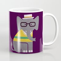 preppy Mugs featuring Rodney the preppy elephant by Picomodi