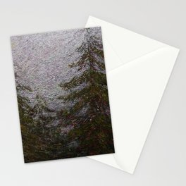 Return to Wilderness alpine evergreen pine forest landscape painting by Angelo Morbelli Stationery Cards