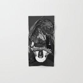 budgie hangs upside down on the branch vector art black white Hand & Bath Towel