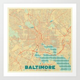 Baltimore Map Retro Art Print