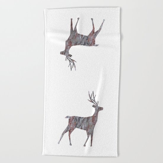 deer silhouette stag pine bark Beach Towel