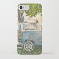 vw bus iPhone & iPod Cases featuring VW Camper Bus by Barb Laskey Studio
