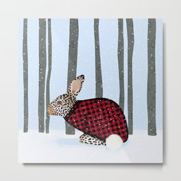 Rabbit Wintery Holiday Design Metal Print